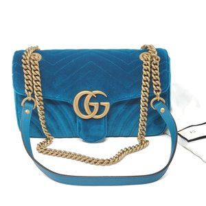 Gucci Small Marmont Velvet Chevron Teal Crossbody